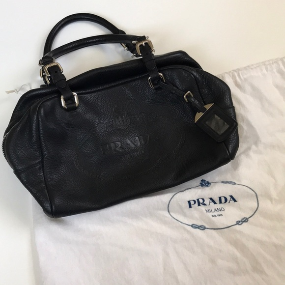 8f46a6b13832 Prada Black vitello diano embossed leather satchel.  M 5b6c64040cb5aa99f9d818d0